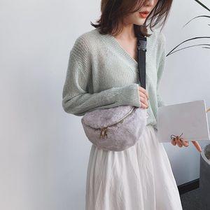 Талия Сумки Женщины мягкая плюшевая сумка 2021 зима сплошной цвет Fanny Pack повседневная ремень сундук теплый мех кроссовобы