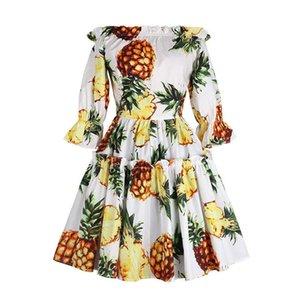 Verão, Outono, New Customize Mulheres Shoulder vestido de algodão Ladies Plus Size 3XS-10XL Vestidos de impressão abacaxi Vintage