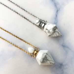 Faceted howlite point necklace,Howlite Necklace,Perfume Bottle necklace,Essential Oil Diffuser ,Perfume Bottle pendant.