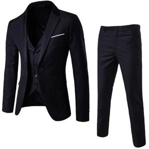 Erkekler için Erkekler 3 adet Suit Damat Giyim Smokin 3 Adet Düğün Suit Groomsmen Sağdıç Biçimsel İş Suit (Ceket + pantolon + yelek)