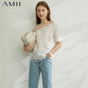Amii minimalismo primavera verano encaje empalme mujeres tshirt causal oneck mangas cortas suelta hembra tshirt 120702311