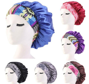 women satin night beauty salon sleep cap cover hair bonnet hat silk head wide elastic band for curly springy hair chemo cap towel