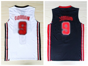 Filmversion Marke NEUE 1992 Traumteam US USA Olympische Spiele Top Basketball Trikots Herrenweste Nähed Schwarz Weiß S-2XL Kostenloser Versand