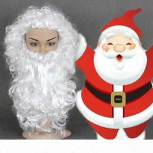 Spedizione gratuitaNuova moda calda Santa Claus e barba set onda bianca ricci natale cosplay cosplay parrucche sintetiche