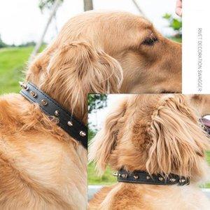 Заклепки усеянные собаки воротник кожаное регулируемое ожерелье из домашних животных Cool Rivet Pet собака кошка воротник