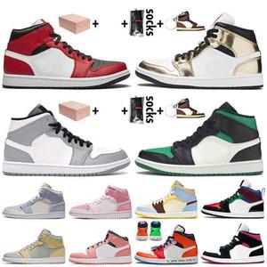En İyi Yeni Jumpman 1 1 Kutu Ile Basketbol Ayakkabı Orta Chicago Black Toe Barely Turuncu Işık Duman Gri Kadın Erkek Sneakers
