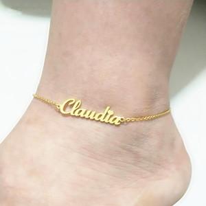 Nombre de encargo Tobillera Joyería personalizada personalizada de acero inoxidable Enkelbandje color rosa en oro Placa de identificación pulsera de tobillo Cheville