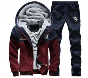Uomini giacca designer spessore caldo velluto con cappuccio dei pantaloni 2pcs Tuta abiti uomo vestito di sudore Patchwork Sportswear Autunno Inverno Mens Sport