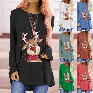 Moda Uzun Kollu Annelik Giysileri Kış Kolay Baskı Mürettebat Boyun Kadın T Gömlek Noel Geyik Sonbahar Kış 23ZJ K2