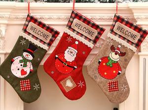 Creative high quality environmental protection canvas Christmas socks candy gift bag polyester Christmas Ornament party Christmas gift bag