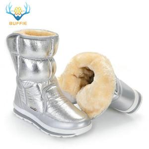 Buffie Marca invierno botas de plata nieve de las mujeres botas de piel de plantilla Señora calientes zapatos de niña de moda a mediados de culf buen envío libre mirando