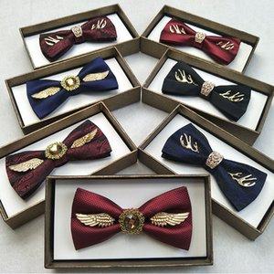 새로운 디자인 망 활 높은 품질 럭셔리 금속 황금 날개 뿔 뿔 보우티 패션 캐주얼 더블 레이어 나비 넥타이 선물 상자