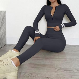Seamless Workout Clothes Sports Clothing Women's Long Sleeve High Waist Leggings Ribbed Fitness Suit Sportswear