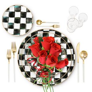 Marocco Stile ceramica piatti rotondi Imposta bianco e nero china griglia osso padellame regola piatto di portata a buon mercato