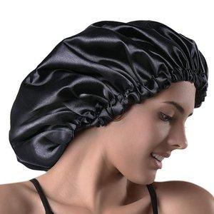 32cm Head Wrap Shower Caps Elastic Band Satin Bonnet Cap Double Layer Sleeping Cap Long Hair Care Bathing Acc qyluFz