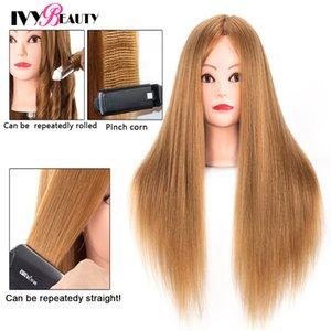 Maniquí de cabeza con cabello humano 80% recto novia peluquería profesional Formación cabeza con el soporte de la cosmetología cabeza de la muñeca