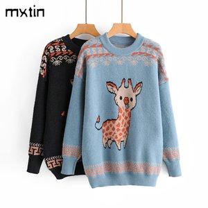 Mxtin moda natal inverno inverno pulôver de malha camisola mulheres 2020 vintage manga comprida quente suaves suaves suaves femininos