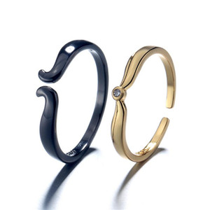 gold black Beauty beast ring anelli couple open rings lovers female wedding engagement jewelry free shipping GMNR235