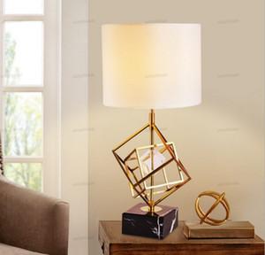 Modern Postmodern Iron Crystal Marble Fabric LED Table Lights Table Lamp Desk Lamps LED For Bedroom Living Room Bedside American Lighting