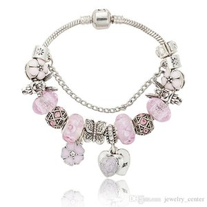 Cgjxs розовый Sakura Love Heart Pendant очаровывает браслет для Пандора 925 Silver 3мм Snake Chain Шарм Браслеты для женщин с первоначально логотипом