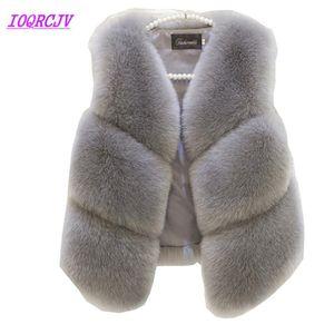Faux Fur Vest Jacket per le donne autunno giacca corta Moda maniche di pelliccia Gilet più sizecoat Top Femminili IOQRCJV H338