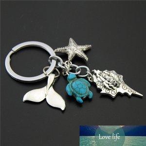 1pc Blue Turtle Beads Starfish Conch Fish Tail Llavero DIY Hecho a mano Ocean Beach Jewelry