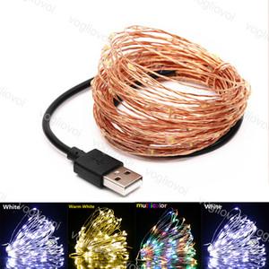 Stringhe a LED 5V 5m 10m 10m Filo di rame Luci USB Connettore Fata Fiasta per Natale Halloween Home Decorazione della festa nuziale DHL