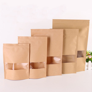 50Pcs lot Kraft Paper Bag Window Zip lock Empty Dried Food Fruit Tea Gift package Self Sealing Zipper Stand up Bags HH9-3727