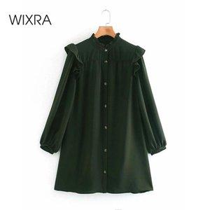 Wixra allentati abiti d'epoca delle donne ha increspato il collare monopetto abbigliamento Street Style Primavera Autunno