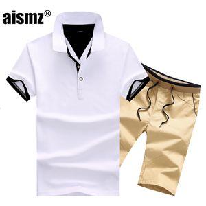 Aismz Erkekler Moletom Masculino Sportsuits Seti Marka Polo Suits Yaz Erkek 2 adet tişört Setleri Katı Casual Eşofman