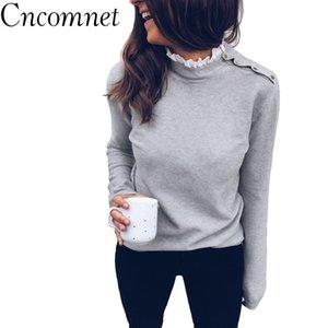 CNComNet Kadınlar Örme Kazak Kaplumbağa Boyun Rahat Uzun Kollu Kazaklar Gevşek Kazak Sonbahar Kış Gri Beyaz Tops Streetwear Y200116