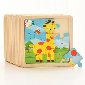 Hot Sale 9pcs Of Wood Puzzle Baby Young Children Early Lessons Learned Intelligence Cartoon Animal Puzzle Wooden Toys