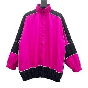 20FW التباين لون كلاسيكي بسيط زيبر سترة شارع العليا روز الأسود معطف الخريف الربيع الرجال أزياء المرأة أبلى HFHLJK130