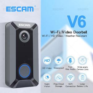 ESCAM V6 720P الجرس اللاسلكي كاميرا فيديو سحابة التخزين للماء الرئيسية الجرس الأمن مع بطارية داخلية DingDong الرنين