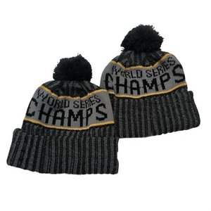 2020 Round Patch World Series Champions Beanie Premium Embroidered Winter Soft Thick Beanies Cuffed Hat Black Grey Sideline Cuffed Cap