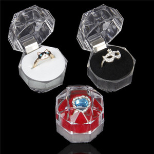 Jewelry Package Boxes Ring Holder Earring Display Box Acrylic Transparent Wedding Packaging Storage Box Cases .