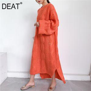 DEAT 2020 novos outono e inverno moda feminina roupas malhas camisola Mulher Overlength pullover vestido solto tamanho grande WJ82002 C1009