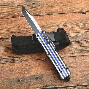 Chaud! Drapeau bleu poignée A161 Autao Couteau tactique 440C Two Tone Tanto point lame alliage Zn-Al poignée Couteaux EDC avec sac en nylon