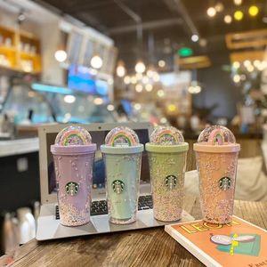 DHL 450ml Bonito Rainbow Starbucks Copa Dupla plástico com palhas Material para animais de estimação para crianças Adult girlfirend para produtos de presente