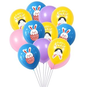 Happy Easter Rabbit Print Balloons Latex Air Balloon Kids Cartoon Bunny Balloon Easter Party Decoration Eggs Festival Supplies Toys G10703