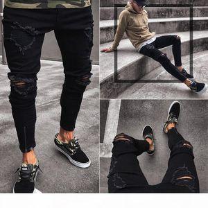 Mens Designer Jeans Slim Motorcycle Moto Biker Causal Mens Denim Pants Hip Hop Men Jeans Pour Hommes New Black Hole Elastic Zipper