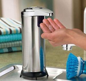 venta caliente 1pcs del sensor automático de manos libres IR sin contacto de acero inoxidable dispensador de jabón líquido 47A2 #