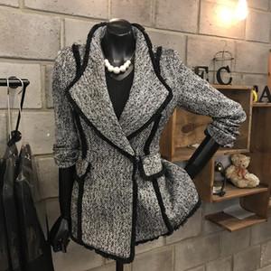 Herbst-Winter-Frauen Luxury Runway Jacke Single Button dünne kurze graue Wollmäntel elegante Anzüge Vintage-Chic Coats Outfits