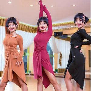 Latin Dance Dress manga comprida irregular saia da senhora do salão de baile de Tango Vestidos Cha salsa roupas para mulheres Latina Prática Wear DN1505