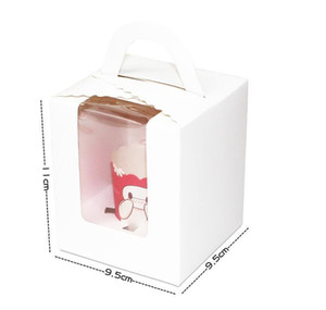 Single Cupcake Boxes With Clear Window Handle Portable Macaron Box Mousse Cake Snack Boxes Paper Package Box Birt sqcrzM ppshop01