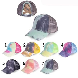 9 styles Cross Hat Ponytail Baseball Cap Criss Cross Washed Cotton Trucker Caps Sunflower Leopard Hats Snapback Tie-Dye Mesh Cap Z1556