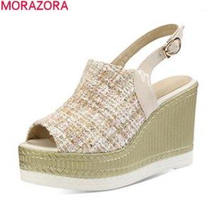 Morazora 2020 Nuevas plataformas zapatos altos zapatos sexy cuñas de punta redonda zapatos de fiesta de verano sandalias blancas albaricoque