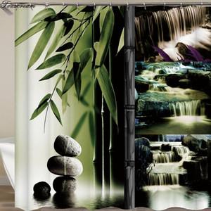 Ev Dekorasyonu Yeşil Sarı Zen Bahçesi Teması Bambu Su geçirmez gösteri perde perde Zen duş perdeleri banyo