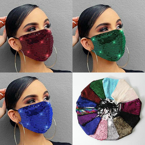 Masque Face Masque Fashion Lady Salon Bling Bling Paillette Sequin Designer Masque de luxe Lavable Réutilisable Protection avec corde réglable