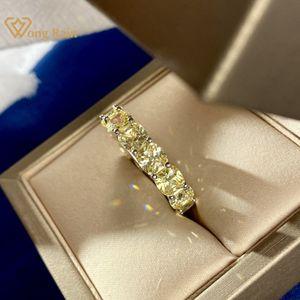 Wong Rain 925 Sterling Silber Gelb Erstellt Moissanit Diamanten Edelstein Hochzeit Band Verlobungsring Feinschmuck Großhandel Y0122